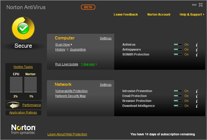 Norton Antivirus avis et test 2018