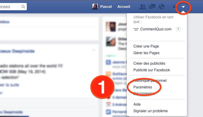 Menu Facebook pour supprimer son compte
