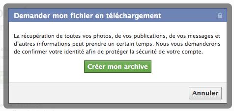 Créer une archive de son historique Facebook
