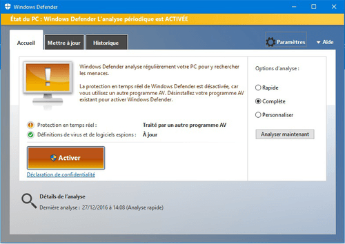 Que vaut la protection de Windows Defender ?