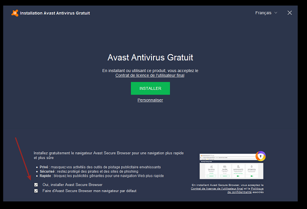 supprimer avast safezone browser