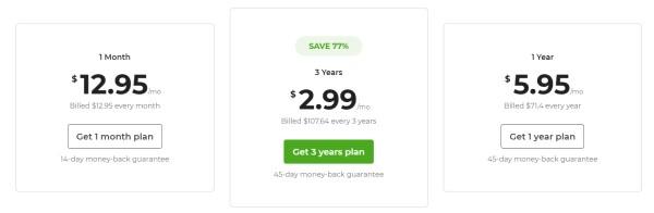 VPN tarifs